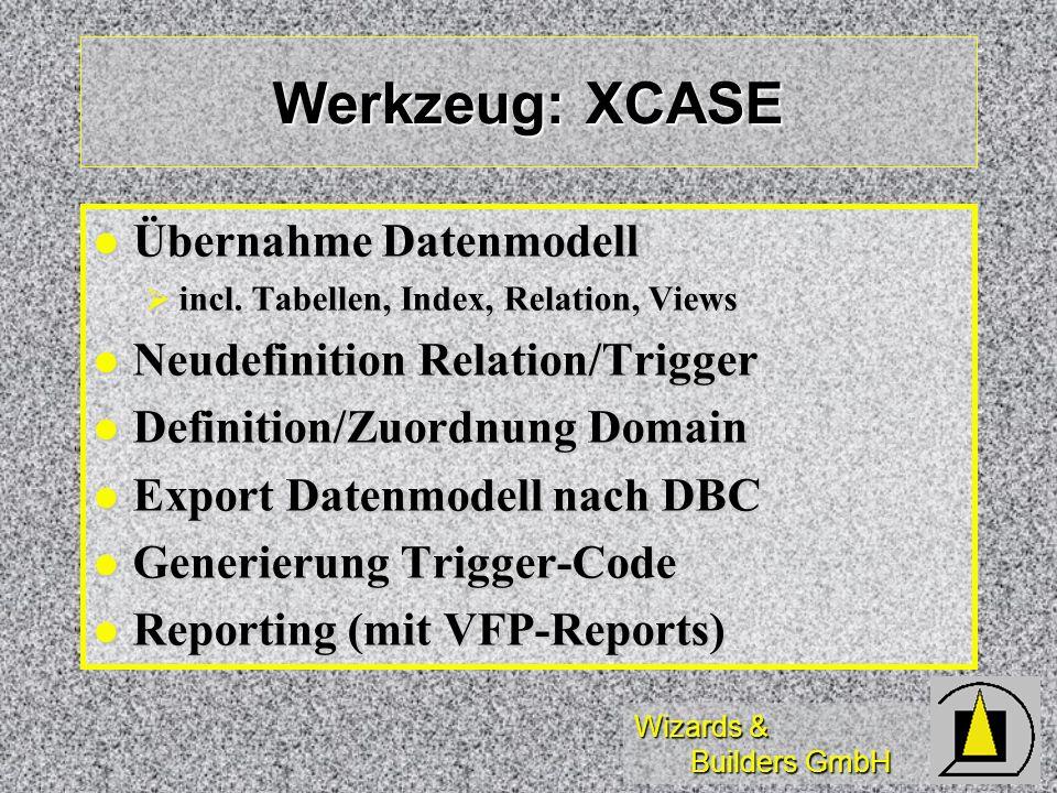 Werkzeug: XCASE Übernahme Datenmodell Neudefinition Relation/Trigger