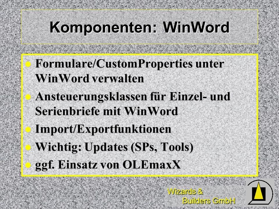 Komponenten: WinWord Formulare/CustomProperties unter WinWord verwalten. Ansteuerungsklassen für Einzel- und Serienbriefe mit WinWord.