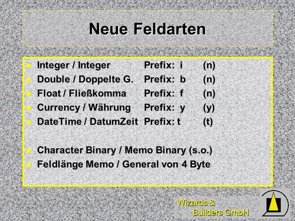 Neue Feldarten Integer / Integer Prefix: i (n)