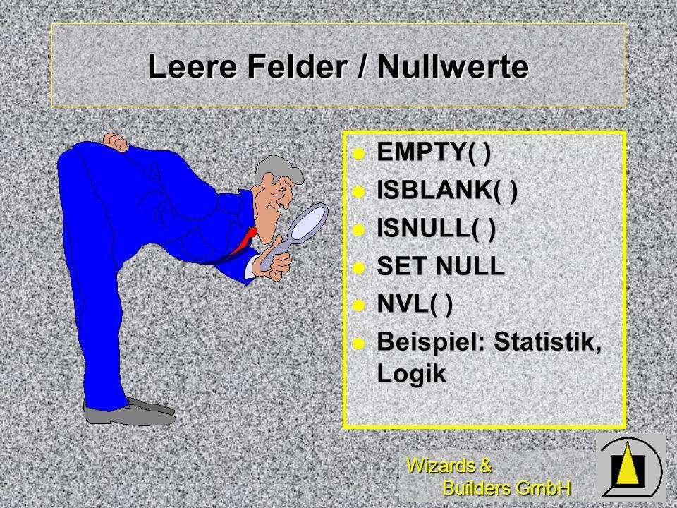 Leere Felder / Nullwerte