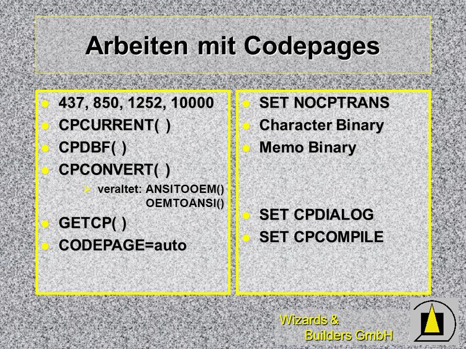 Arbeiten mit Codepages