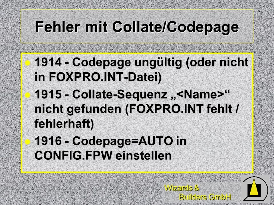 Fehler mit Collate/Codepage