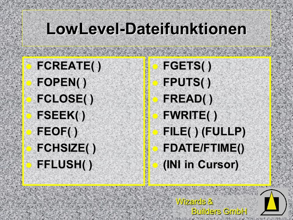 LowLevel-Dateifunktionen