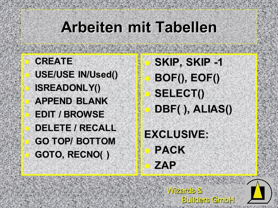 Arbeiten mit Tabellen SKIP, SKIP -1 BOF(), EOF() SELECT()