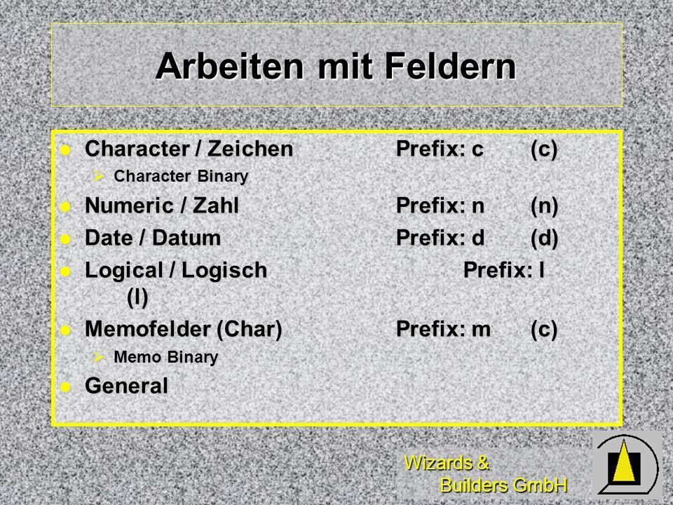 Arbeiten mit Feldern Character / Zeichen Prefix: c (c)