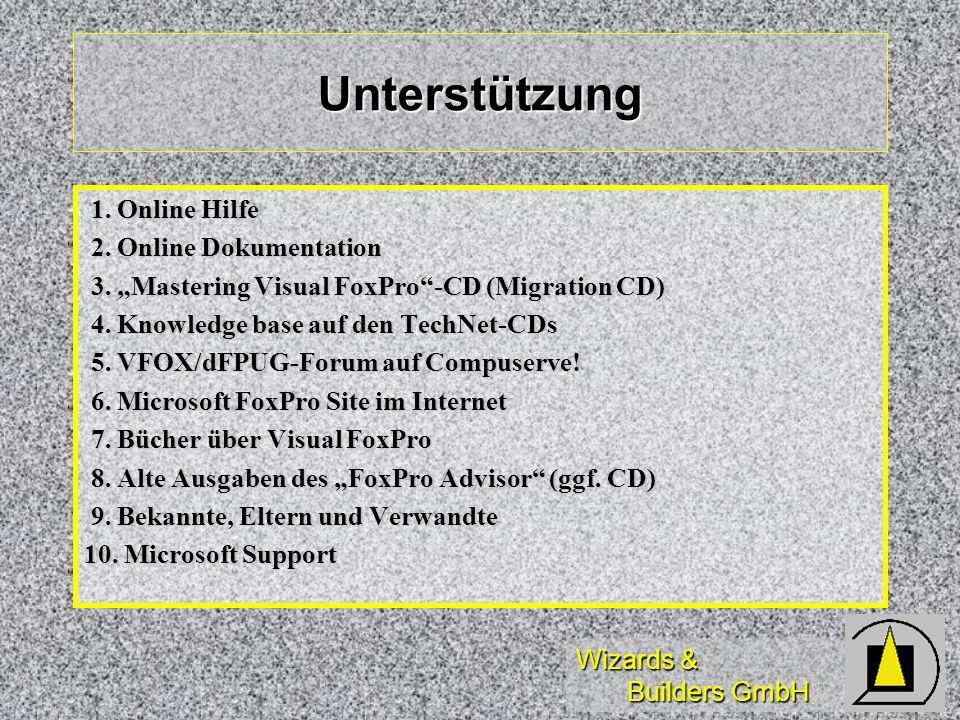 Unterstützung 1. Online Hilfe 2. Online Dokumentation