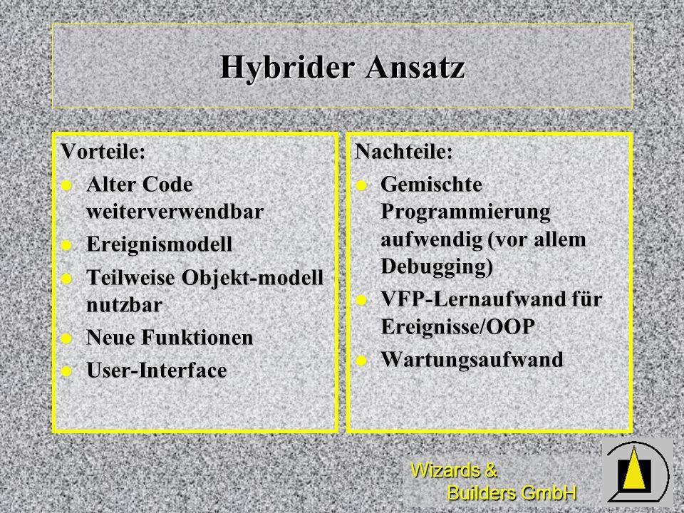 Hybrider Ansatz Vorteile: Alter Code weiterverwendbar Ereignismodell