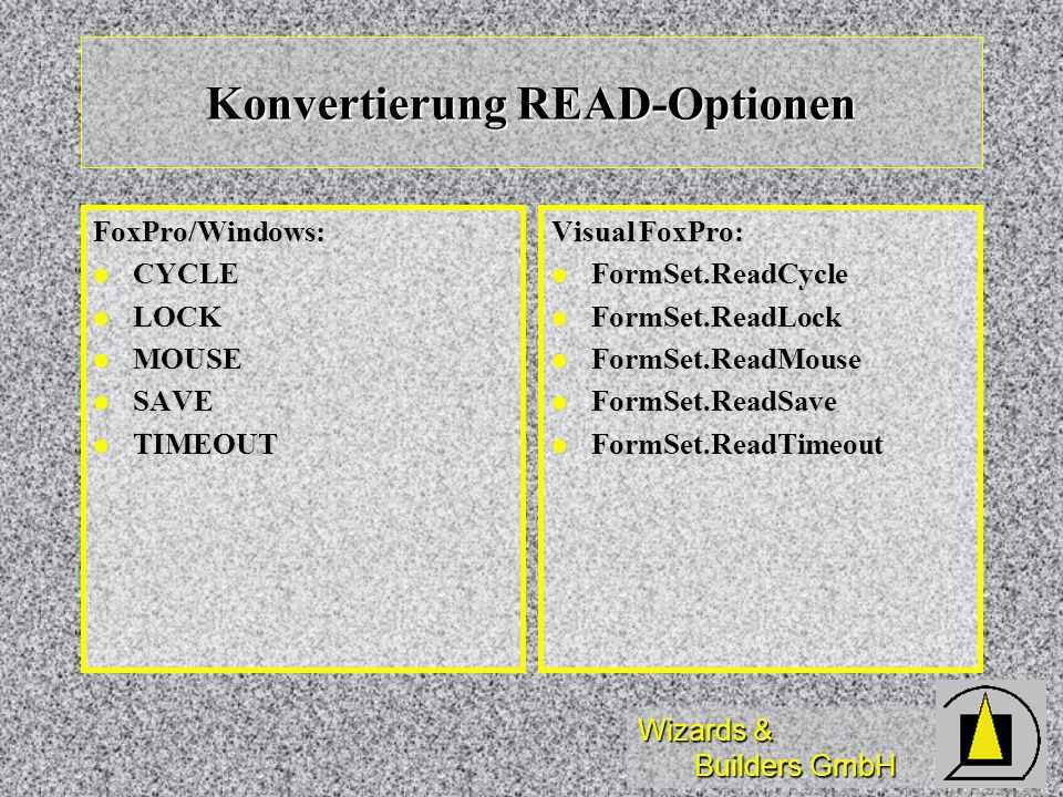 Konvertierung READ-Optionen
