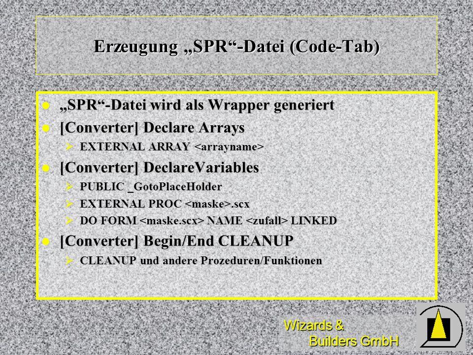 "Erzeugung ""SPR -Datei (Code-Tab)"