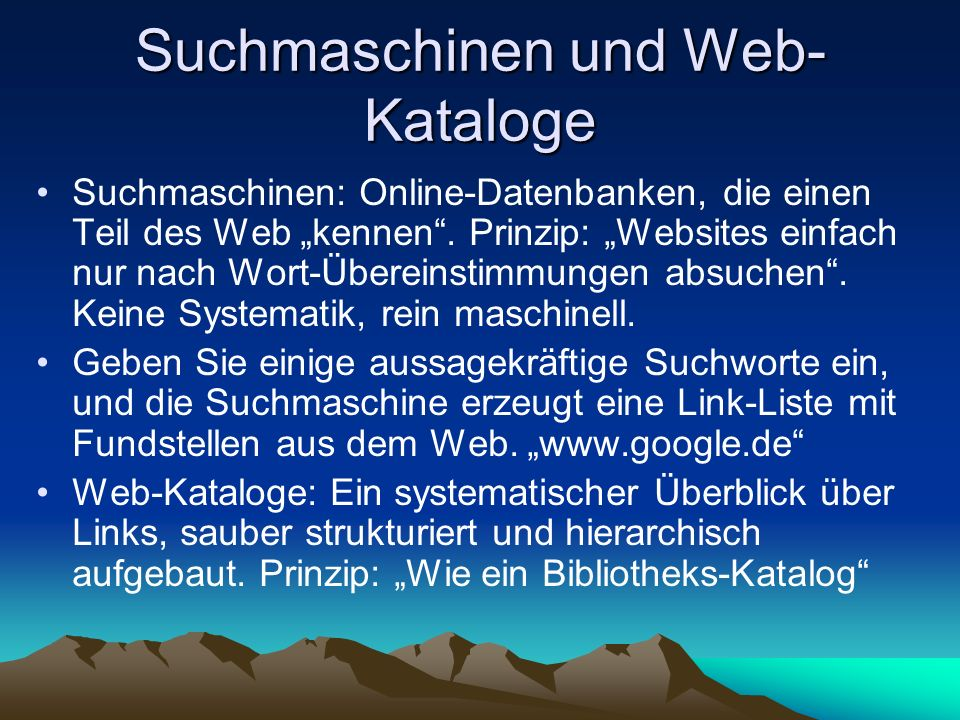 Suchmaschinen und Web-Kataloge