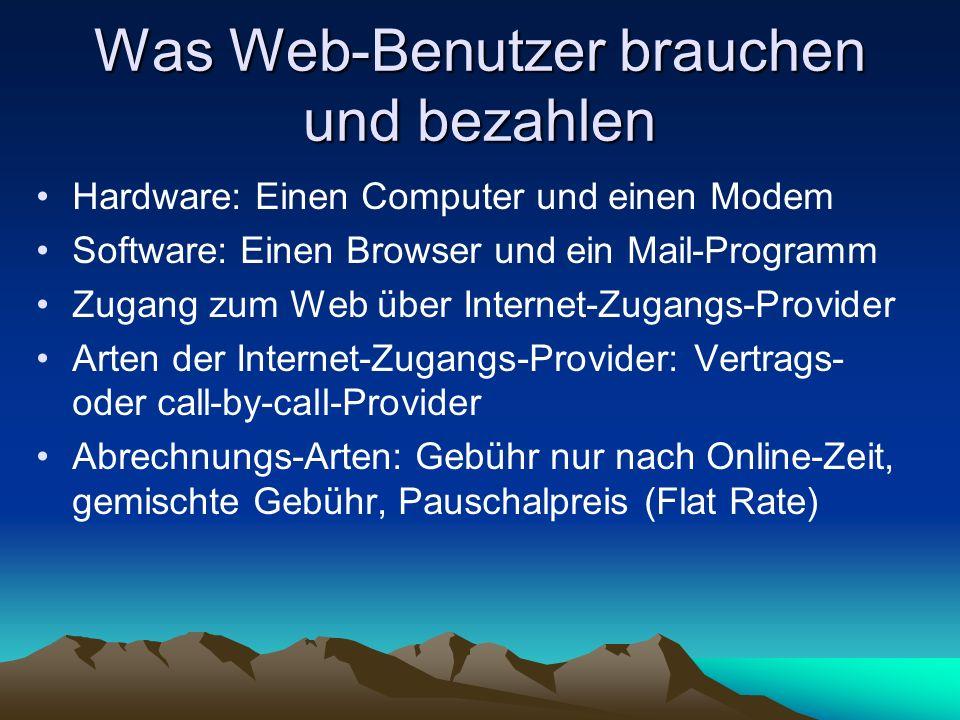 Was Web-Benutzer brauchen und bezahlen