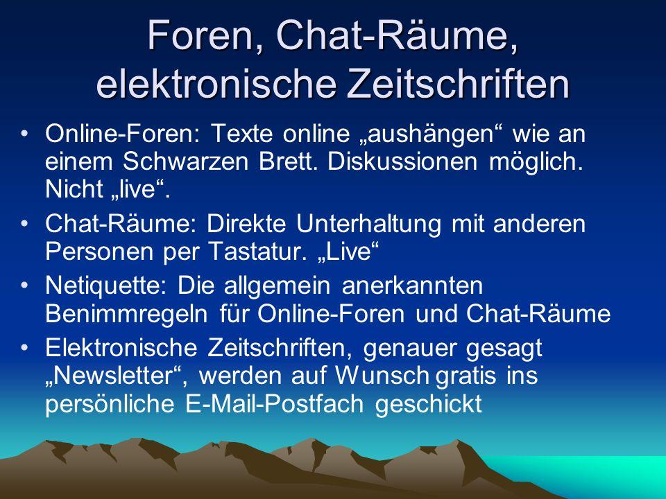 Foren, Chat-Räume, elektronische Zeitschriften