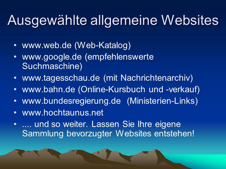 Ausgewählte allgemeine Websites