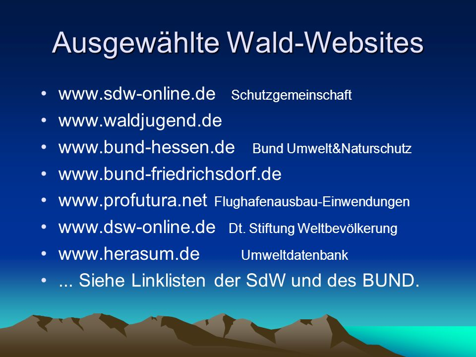 Ausgewählte Wald-Websites