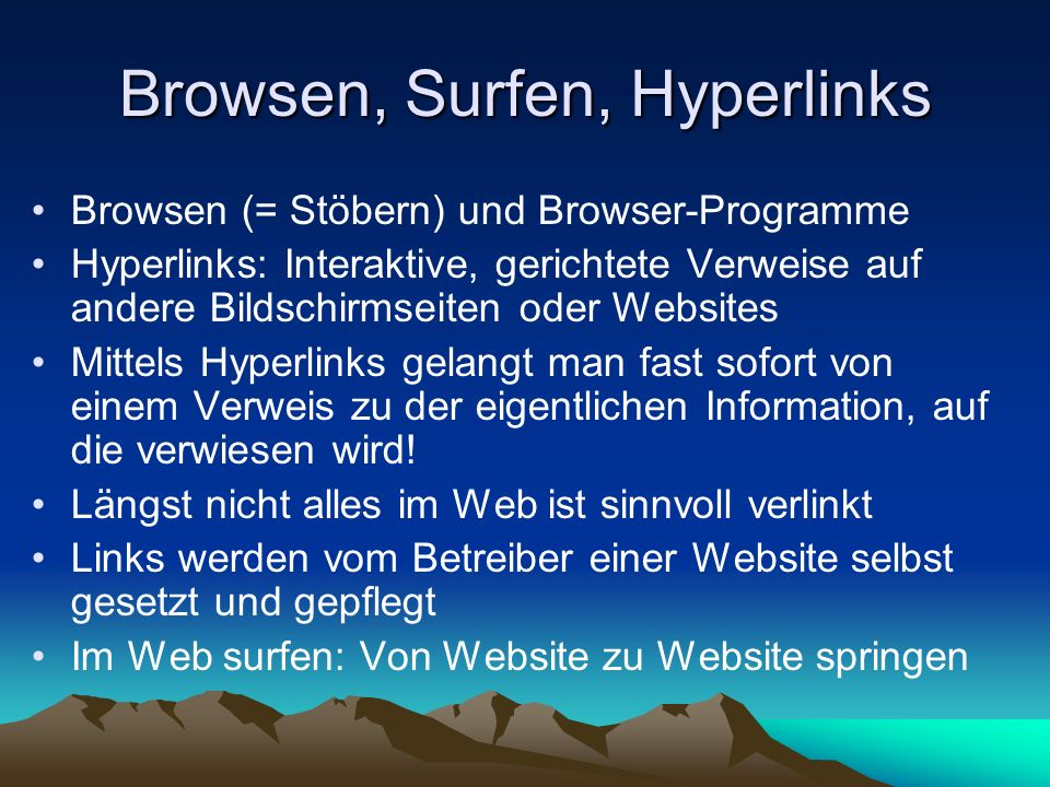 Browsen, Surfen, Hyperlinks