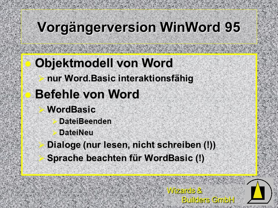 Vorgängerversion WinWord 95
