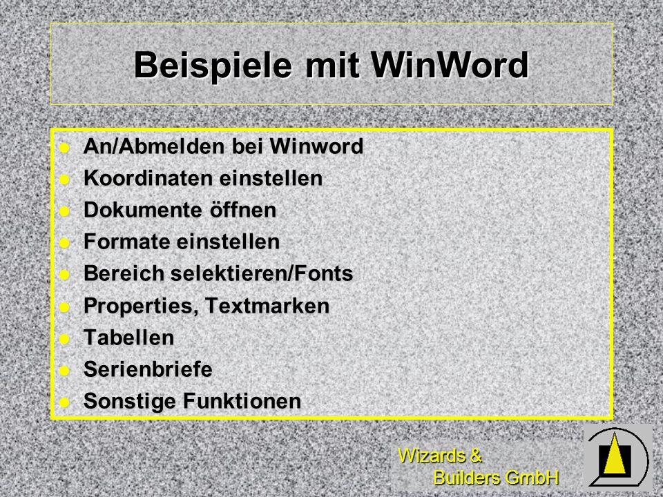 Beispiele mit WinWord An/Abmelden bei Winword Koordinaten einstellen