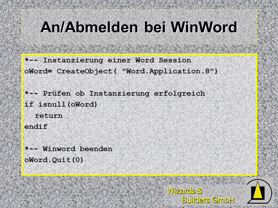 An/Abmelden bei WinWord