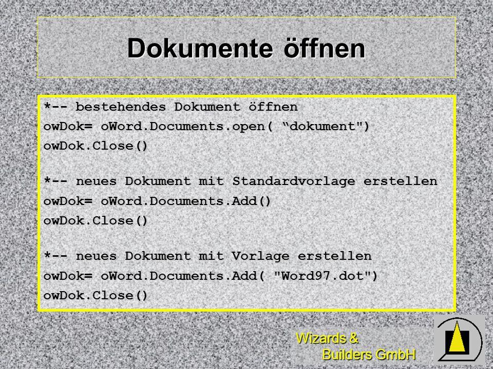 Dokumente öffnen *-- bestehendes Dokument öffnen