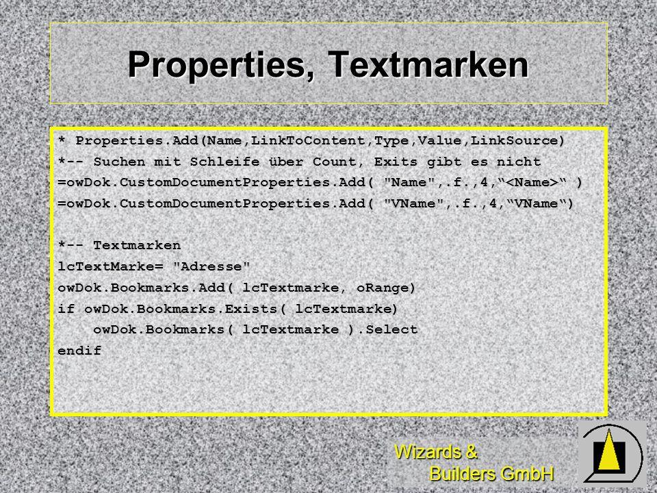 Properties, Textmarken