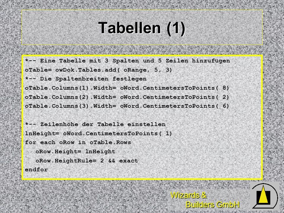Tabellen (1) *-- Eine Tabelle mit 3 Spalten und 5 Zeilen hinzufügen