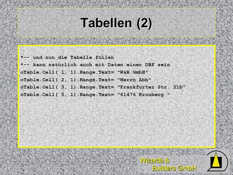 Tabellen (2) *-- und nun die Tabelle füllen