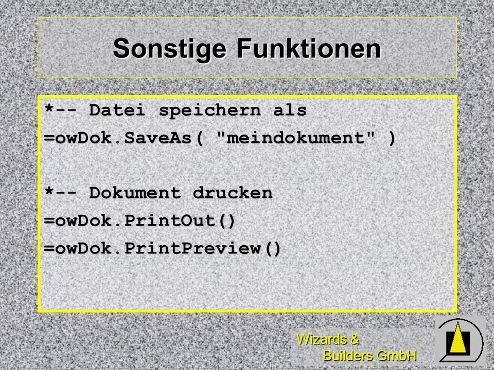 Sonstige Funktionen *-- Datei speichern als