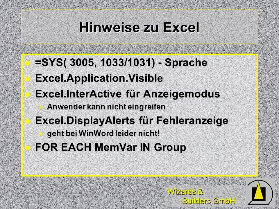 Hinweise zu Excel =SYS( 3005, 1033/1031) - Sprache