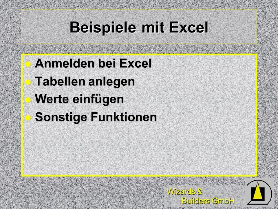 Beispiele mit Excel Anmelden bei Excel Tabellen anlegen Werte einfügen
