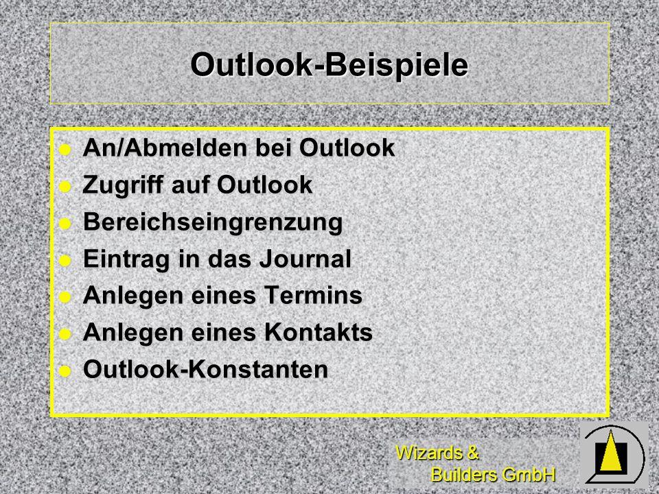 Outlook-Beispiele An/Abmelden bei Outlook Zugriff auf Outlook