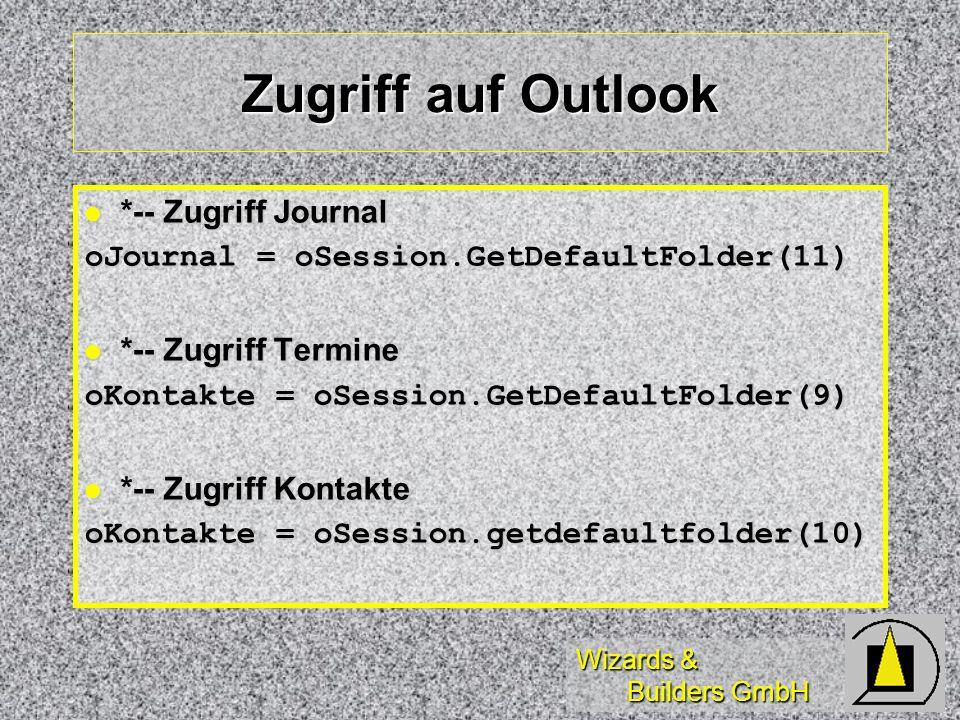 Zugriff auf Outlook *-- Zugriff Journal