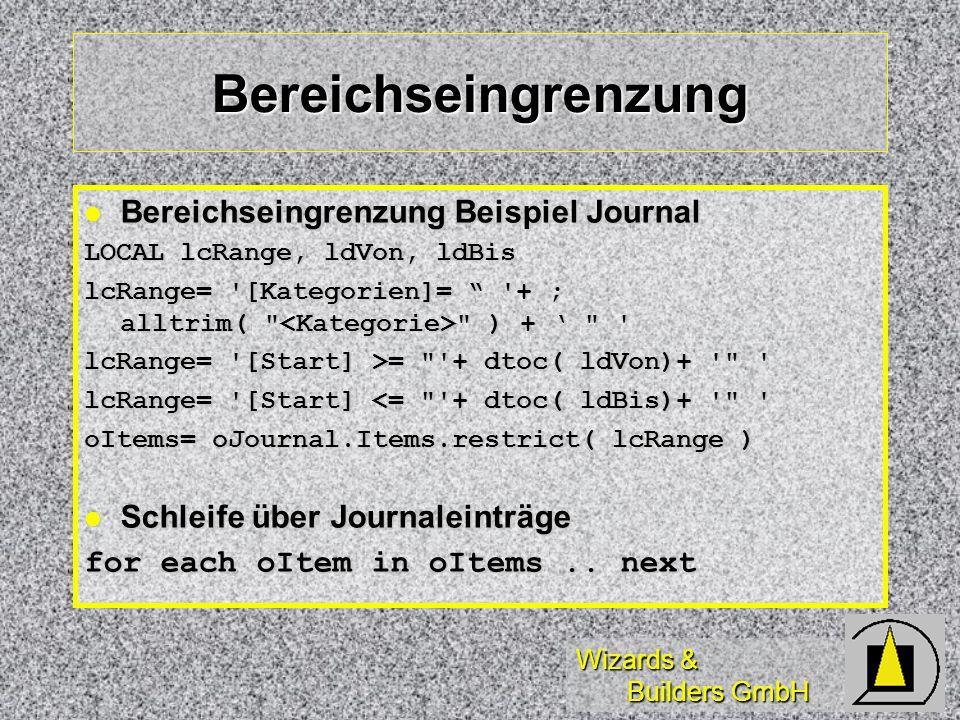 Bereichseingrenzung Bereichseingrenzung Beispiel Journal