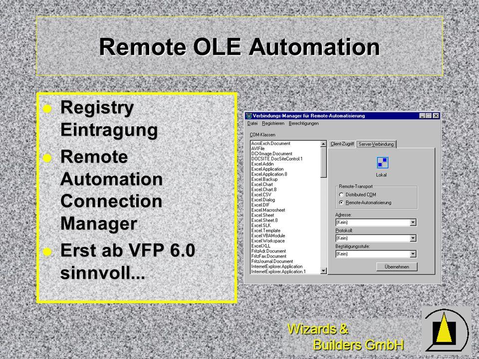 Remote OLE Automation Registry Eintragung