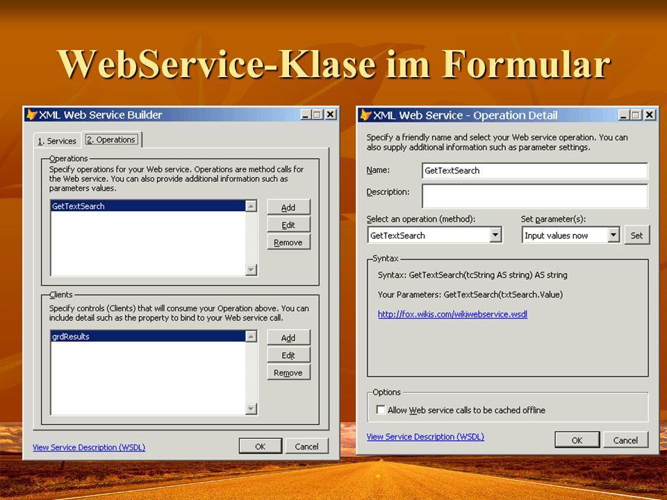 WebService-Klase im Formular
