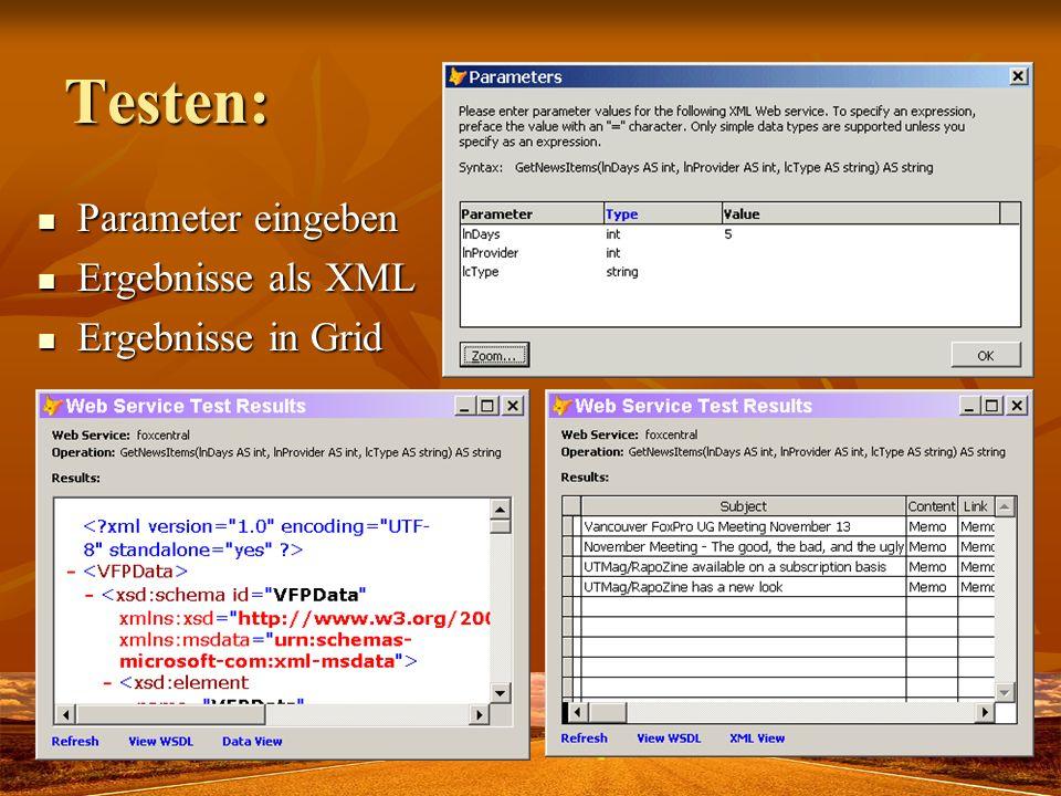 Testen: Parameter eingeben Ergebnisse als XML Ergebnisse in Grid