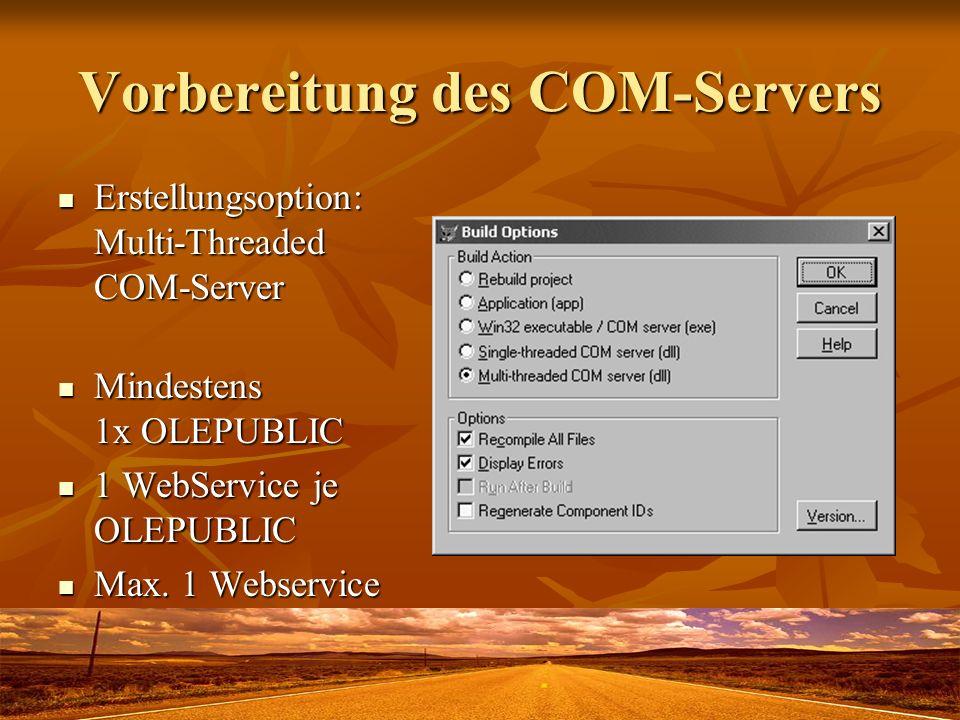 Vorbereitung des COM-Servers