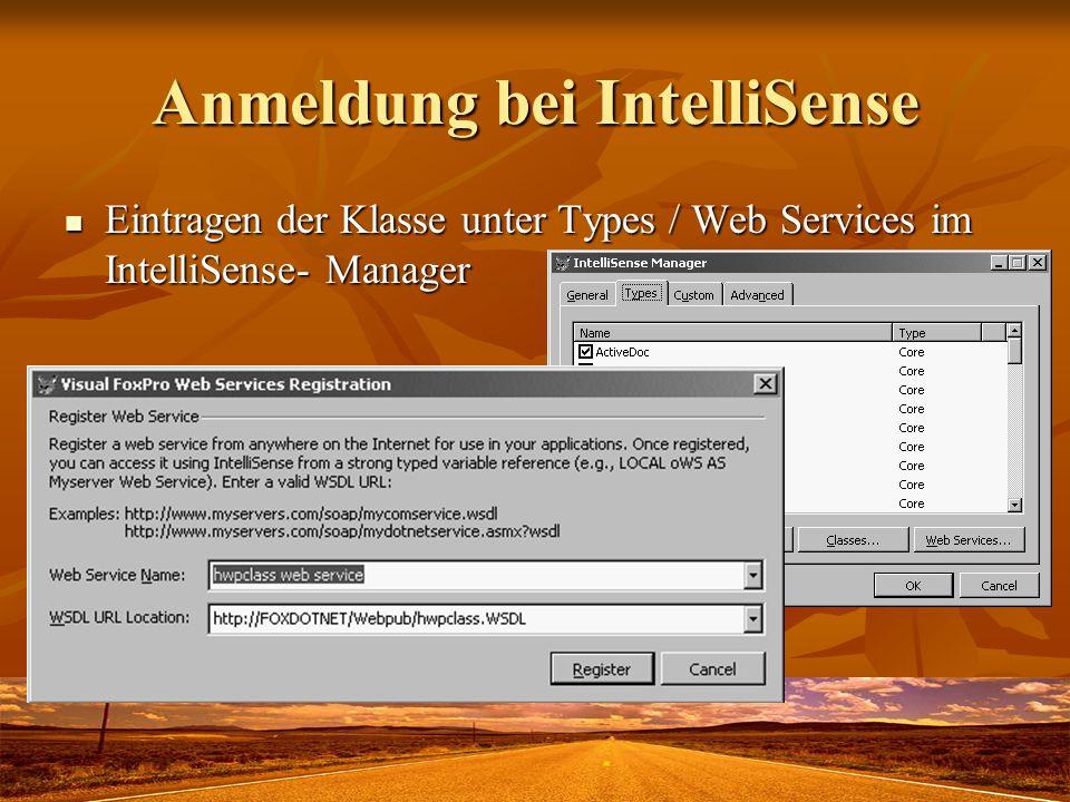 Anmeldung bei IntelliSense