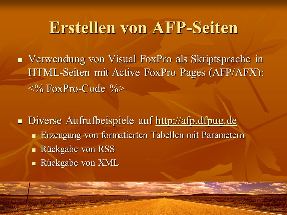 Erstellen von AFP-Seiten