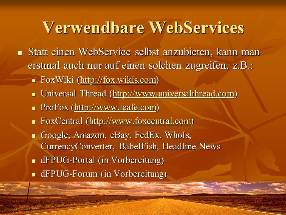 Verwendbare WebServices