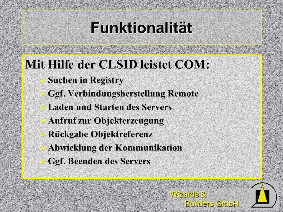 Funktionalität Mit Hilfe der CLSID leistet COM: Suchen in Registry
