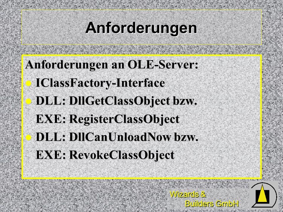Anforderungen Anforderungen an OLE-Server: IClassFactory-Interface