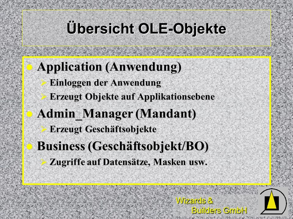 Übersicht OLE-Objekte