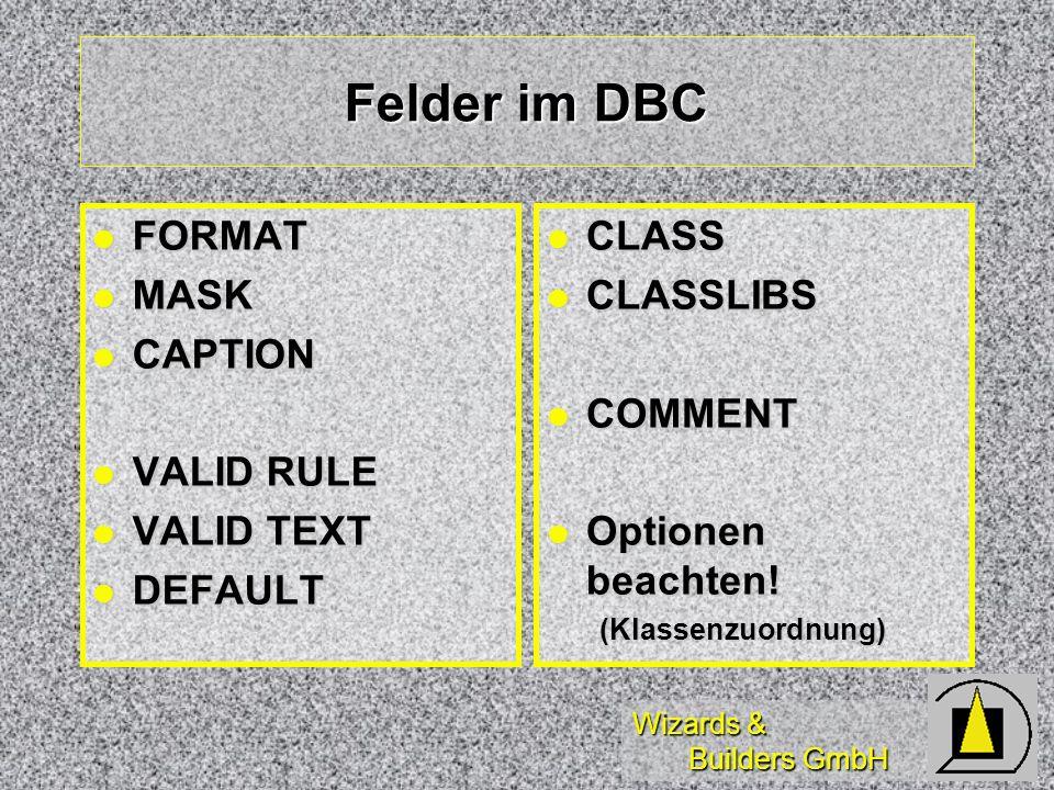 Felder im DBC FORMAT MASK CAPTION VALID RULE VALID TEXT DEFAULT CLASS