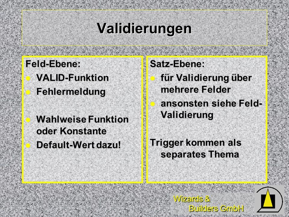 Validierungen Feld-Ebene: VALID-Funktion Fehlermeldung