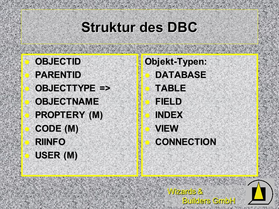 Struktur des DBC OBJECTID PARENTID OBJECTTYPE => OBJECTNAME