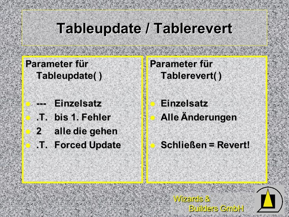 Tableupdate / Tablerevert