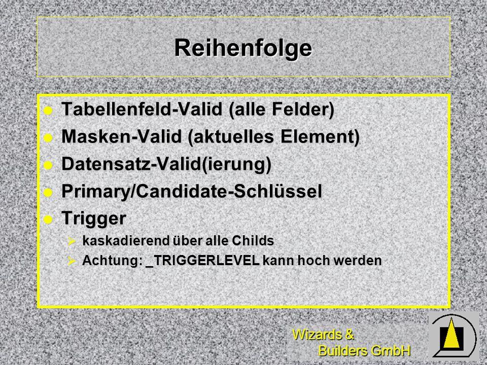 Reihenfolge Tabellenfeld-Valid (alle Felder)