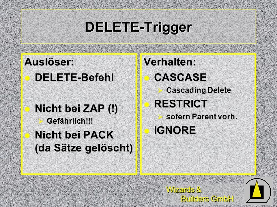 DELETE-Trigger Auslöser: DELETE-Befehl Nicht bei ZAP (!)