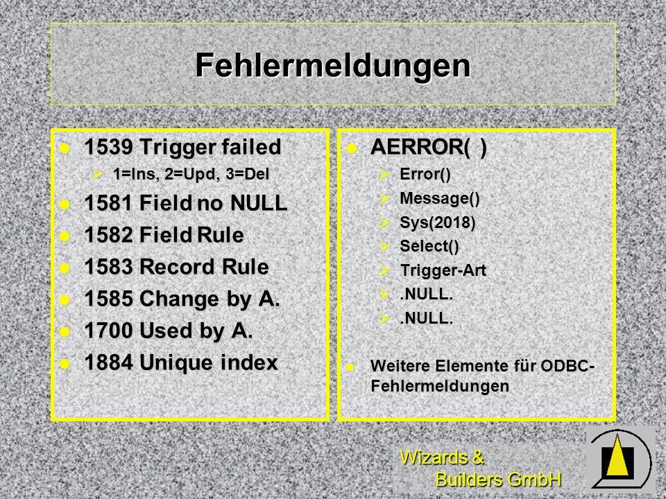 Fehlermeldungen 1539 Trigger failed 1581 Field no NULL 1582 Field Rule
