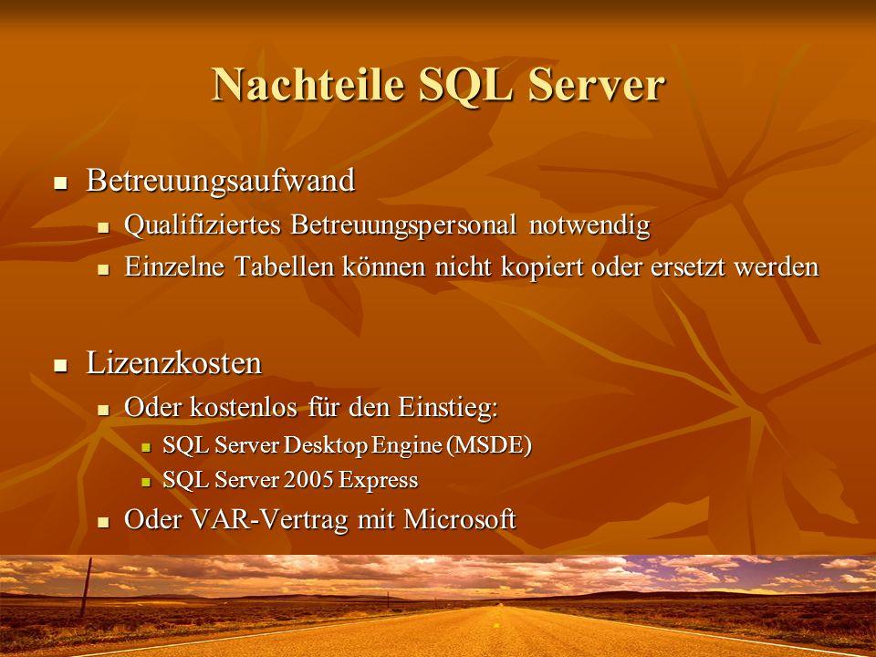 Nachteile SQL Server Betreuungsaufwand Lizenzkosten